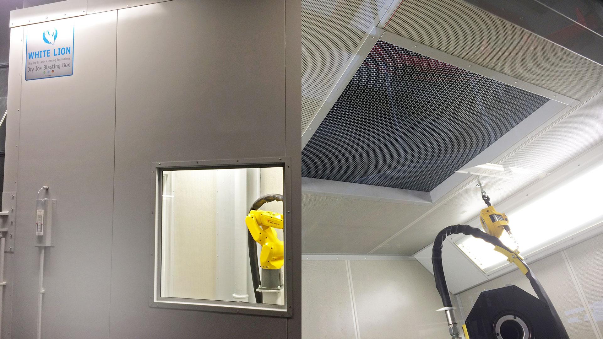 Dry Ice Blasting Box pozwala się wygodnie odizolować od hałasu produkcji urządzenia do czyszczenia suchym lodem.